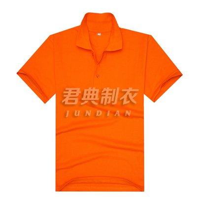 橘色珠地网眼棉翻领T恤衫