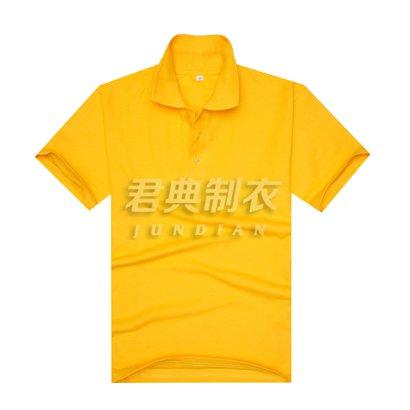 黄色珠地网眼棉翻领T恤衫