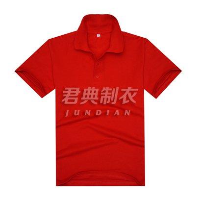 中国红珠地网眼棉翻领T恤衫
