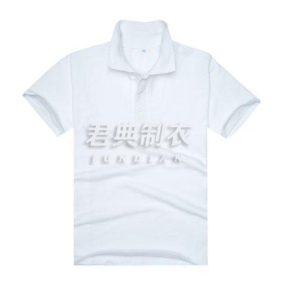 白色珠地网眼棉翻领广告t恤衫