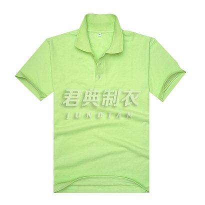 果绿色珠地网眼棉翻领广告t恤衫