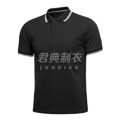 经典商务黑撞色领高档T恤衫