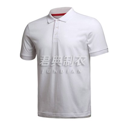 经典白色珠地网眼棉polo衫