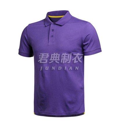 紫色纯色精品棉polo衫