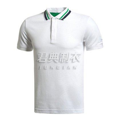 白色款撞色领设计商务polo衫