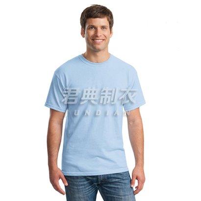 浅蓝色高档精梳棉文化衫