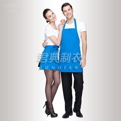 湖蓝色纯棉vwin10围裙