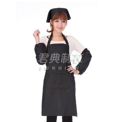 黑色纯棉细斜纹款咖啡厅围裙