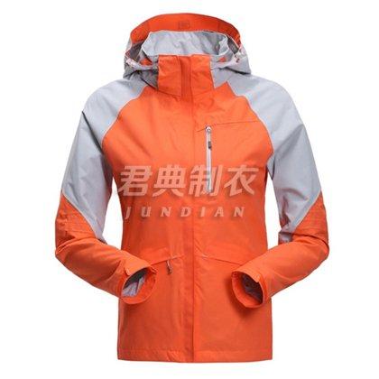 经典橘色户外运动冲锋衣定制