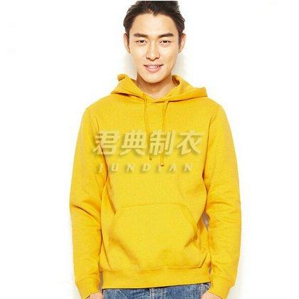 黄色基本款连帽衫订制【可印绣图案】