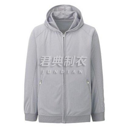 麻灰色基本款拉链卫衣