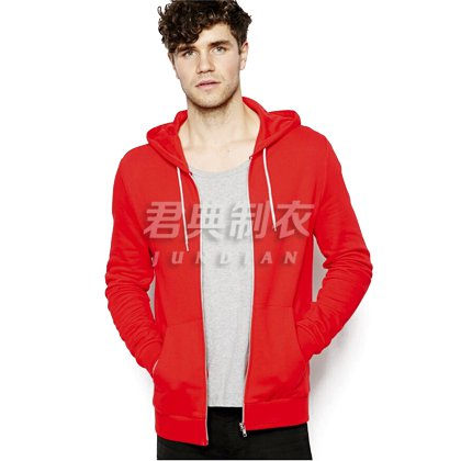 红色时尚基本款拉链开襟卫衣