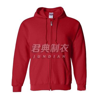 红色现货拉链款卫衣帽衫