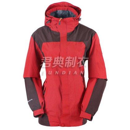 现货红色春秋款单层冲锋衣