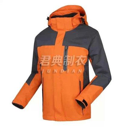 橙色户外防寒保暖冲锋衣定做