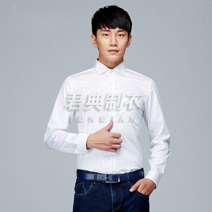 经典男士方领纯棉白色衬衫