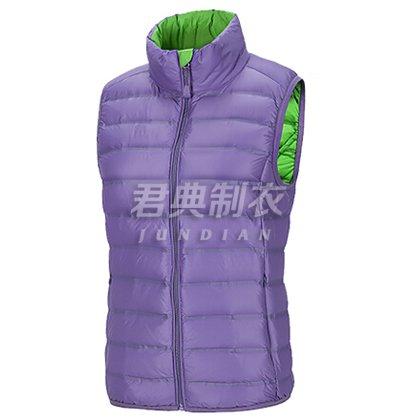 紫色女款羽绒马夹定制