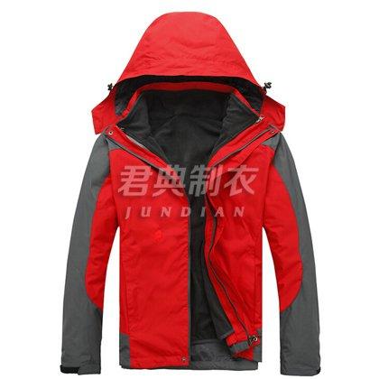 防水透气双层红色冲锋衣